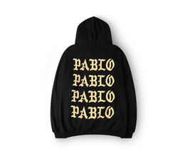 Wholesale Rap Hoodies - 2017 Pablo Paris Hoodies I feel like pablo Sweatshirts Kanye Rap Black White Hoody Pullovers Men Sweatshirts