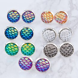 Wholesale Drusy Stud Earrings - Fashion Drusy Druzy Earrings Stainless Steel 12MM Mermaid Fish Dragon Scale Pattern Stud Earrings For Women Lady Jewelry
