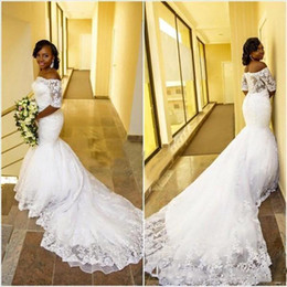 Wholesale Gorgeous Short Skirts - Gorgeous Off the Shoulder Mermaid Wedding Dress 2018 Lace Appliques See Through Back Arabic African Bridal Gowns with Short Sleeves