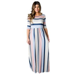 Wholesale Block Peplum Dress - Women Multicolor Striped Half Sleeve Fashion Casual Maxi Dress Color Block Pleated Long Dresses Side Zipper