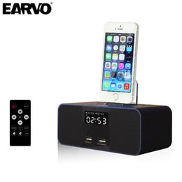 Wholesale Iphone 5s Speaker Dock - Wholesale- Wireless Bluetooth Speaker S6 NFC Radio Alarm Clock Portable Audio Music 8 pin Charger Dock Station for iPhone 7 SE 5S 6 6s Plus