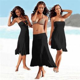 Wholesale Black Swim Cover Up Dress - Women Cover-Ups Swim Skirt Beach Dress Strapless Skirt Solid Beach Dress Polyester Natural Color Multivariant Skirt