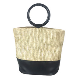 Wholesale Round Wood Handle Shopper Bag Summer Straw Beach Bags Design Shoulder Market Women Handbags travel Causal Tote Basket C88