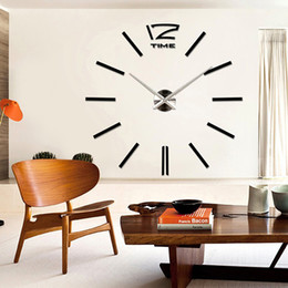 Wholesale Large Number Stickers - Wholesale-Luxury Large Number Wall Clock Modern DIY 3D Mirror Sticker Home Decor Art