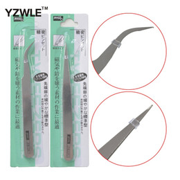 Wholesale Wholesale Eyelashes For Nail - Wholesale- YZWLE 1 Pc Sliver Handle Stainless Steel Eyelash&Nail Art Curved Straight Tweezers Tool For Picking Rhinestones Gem Tools