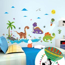 Wholesale Dinosaur Wall Decor For Kids - Wholesale Dinosaur Paradise Wall Stickers Kids Boys Girls Room Nursery Wall Decor Wallpaper Poster Dinosaur Fan Graphic Decoration Art