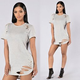 Wholesale Wholesale Sheath Dresses For Women - 2017 T Shirt for Women Short pure color Medium long Sleeve Tassel Hollow Out dress pure color T Shirt