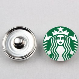 Wholesale Wholesale Starbucks Charms - 2 Styles Hot Sale 18mm Glass Starbucks Coffee Snap Button Charms Fit For Ginger Snap Bracelet Necklace