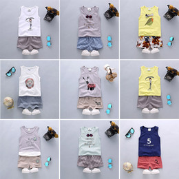 Wholesale Sleeveless T Shirt Wholesale - Kids Clothing Sets Unisex Letter Flower Cartoon Print Baby Casual Suits T-Shirt & Pants Infant Outfits Kids Tops & Shorts 1-4T LG2017