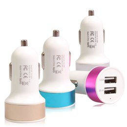 Wholesale Usb Adaptor For Ipad - For iPhone 6 Output 5V 2.1A 1A Double USB Car Charger universal dual usb Contrast Color Adaptor For iPad iPhone Samgung without package