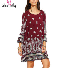 Wholesale Woman Tribal Shorts - Women Dresses Spring 2017 Casual Tribal Print Elegant Retro Loose Dress Short Straight Plus Size Elegant Vestido De Festa