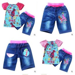 Wholesale Clothing Girl Jean - Baby Clothing Girls Summer Set Trolls Short Sleeve Tops And Jean Pants Bottoms Clothing Suit For Girls Wear Costumes Clothing Sets Christmas