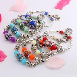 Wholesale Multi Color Beaded Bracelets - Wholesale - New girl bracelet personalized pendant Charm Bracelets bracelet beaded bracelets multi color Free shipping CA096