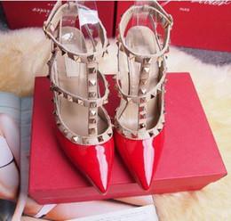 Wholesale Girl Fashion Designer Dress - Rivet Women sandals 2017 Designer women high heels party fashion girls sexy pointed shoes Dance shoes wedding shoes Double straps sandals