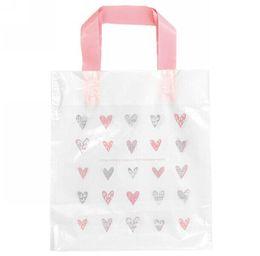 Wholesale Party Bag Shop - Wholesale-Pink heart gift bags,plastic shopping bags 24x29x4cm