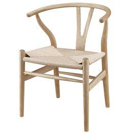 Wholesale Modern Wood Dining Chairs - Modern Wishbone Y Chair Dining Designer Hans Wegner Wishbone Chair Solid Ash Wood Furniture Dining Chair Armchair Natural Black
