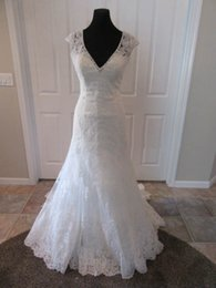 Wholesale Low Priced Mermaid Wedding Dresses - Real Photos Gorgeous Cap Sleeve Lace Wedding Dress Beaded Sweetheart Low Illusion Lace Back Cheap Price Princesa COR-1084