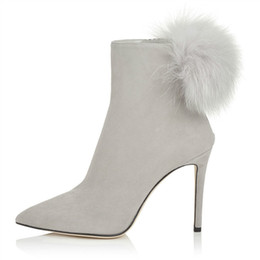 Wholesale Ball Zip - New Winter Pointed Toe Ankle Boots For Women Luxury Velvet Stiletto Heel Hair Ball Side Zipper Pompoms Women Booties