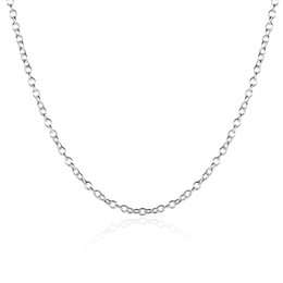 Wholesale Silver Plated Link Necklace - Fashion Jewelry Silver Chain 925 Necklace Rolo Chain for Women Link Chain 1mm 16 18 20 24 inch