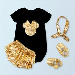 Wholesale Newborn Boy Bloomers - Wholesale- 2016 Baby Girl Clothing Sets Black Cotton Rompers + Golden Ruffle Bloomers Shorts +Shoes +Headband Infant Newborn Clothes