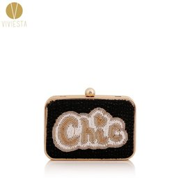 Wholesale Blue Shiny Bags - Wholesale- STATEMENT BOX CLUTCH - Women's Fashion Letters Slogan Cool Funny Novelty Shiny Bead Hard Case Evening Party Chain Bag Minaudiere