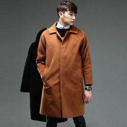 Wholesale Casaco Inverno Masculino - Wholesale- Black casual loose men woolen coats single breasted overcoat mens cashmere coat casaco masculino inverno erkek mont sobretudo