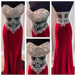 Wholesale Party Chiffon Dresses For Teens - 2017 Real Images Sweetheart Wine Red Sheath Prom Dresses Chiffon Long Rhinestone Beading See Through Formal Evening Party Dress for Teens