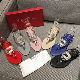 Wholesale Blue Satin Sandals - Double Box free Hot Brand Diamond Caged rhinestone square buckle Thong Leather satin sandals Women party wedding beach Crystal Slippers