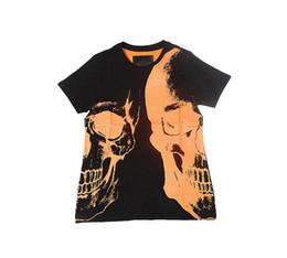 Wholesale Funny Tshirts Men - Orange Double Skull New Fashion Summer Mens Tshirts Casual Fitness Brand Clothing T-shirt Men Funny T-shirt Male top quality