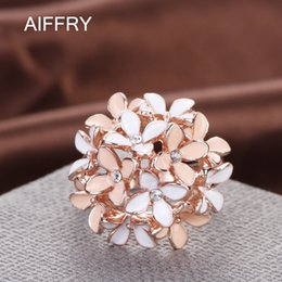 Wholesale Cloves Flower - Wholesale- Aiffry Clove Rings 2016 Jewelry Pink Flower Fashion Austrian Crystal Enamel Rose Gold Rings for Women anillos R2088