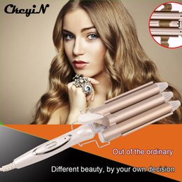 Wholesale Hair Styler Roller - wand CkeyiN Deep Curly Hair Styler Ceramic Triple Barrel Iron Wave Machine Pro Spiral Hair Curlers Rollers Curling Wand 50