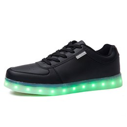 Wholesale Dance Shoe Male - 2017 Colorful LED glowing shoes luminous male female fluorescent shoes Valentine's day USB rechargeable adult lit LED dance shoes 35-46
