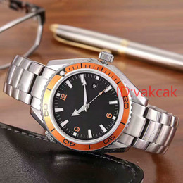 Wholesale Quality Stainless - Luxury Top Quality Mens Watch Planet Ocean Co-Axial Jason007 Stainless Steel automatic mechanical Movement Chronograph Black Men's Watches