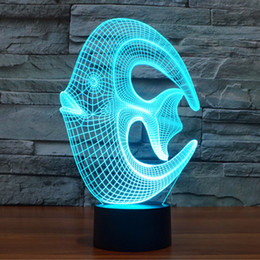 Wholesale Led Glow Light Fishing - Visualization for Home Decor USB Powered 7 Colors Amazing Optical Illusion 3D Glow Coral Fish Unique Lighting Effects Art Lights Desk lamp