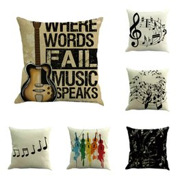 Wholesale Car Seat Cover White - Music Series Note Printed Cotton Linen Decorative Cushion Cover Pillow Case Car Seat 45*45cm Pillowcase Coussin Decoration