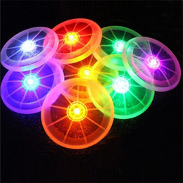 Wholesale Old Children - Wholesale- Colorful Frisbee UFO Kid Toy Spin LED Light Outdoor Toy Flying Saucer Disc Educational UFO Children Beach toys Toy Sports
