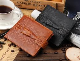 Wholesale Wallet Men Leather Large - New designer Genuine leather short style Alligator wallet for gift men cow leather fashion large capacity purse black brown color no192