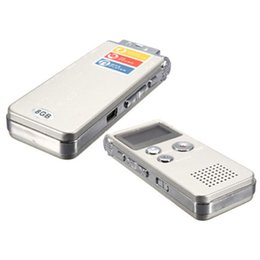 Wholesale Wholesale Digital Voice Recorders - Wholesale- Rechargeable 8GB 650Hr Digital Audio Sound Voice Recorder Dictaphone MP3 Player silver