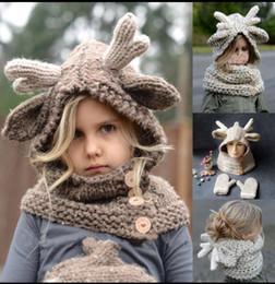 Wholesale Knit Hats Scarves Gloves Wholesale - Kids Winter Elk Hooded Scarf Hat Wool Knitted Crochet Cap Gloves Baby Winter Christmas Elk Hat Warmer Gloves KKA3492