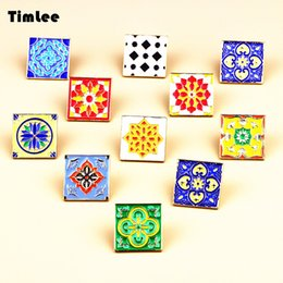 Wholesale Square Brooch - Wholesale- Timlee X243 Creative Tile Personality Joker Nnamel Square Design Metal Brooch Pins Gift Wholesale