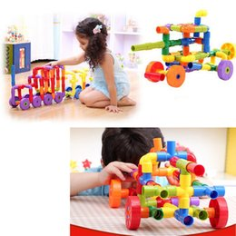 Wholesale Toys Water Pipes - 72pcs set Novelty Toys Assembling Water Pipe Plastic Building Blocks Belt Wheel Pipeline Education Enlighten Kids Toys