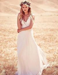 Wholesale Chiffon Summer Bridal Dress - 2017 Summer A Line Beach Wedding Dresses Simple Applique Chiffon Sleeveless Country Bridal Gowns Robe De Mariage