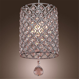 Wholesale drop pendant lighting - Single Head Contemporary Crystal Drop Pendant Light in Cylinder Style Crystal Chandelier Ceiling Light Bedroom Lamp Bar Light Chandelier