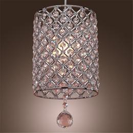 Wholesale Single Crystal Pendants - Single Head Contemporary Crystal Drop Pendant Light in Cylinder Style Crystal Chandelier Ceiling Light Bedroom Lamp Bar Light Chandelier