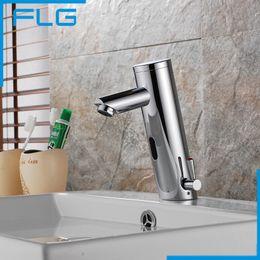 Wholesale Bathroom Sink Faucet Sensor - Wholesale- Motion Sensor Faucet Automatic Hand Touchless Tap Hot Cold Mixer Bathroom Sink Infrared Faucet Mixer