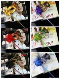 Wholesale Party Mask Making - Hand Made Masquerade Mask for party stick half face mask Halloween princess Braid Mardi Gras Mask 6color