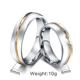 Wholesale Gold Semi Mount Jewelry - wedding ring semi mounts 10pcs lots Wholesale CZ couple wedding ring for women men stainless steel jewelry provide mix size