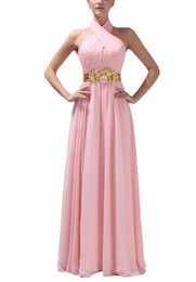 Wholesale Beaded Empire Waist Halter Dress - Dormencir Women's Halter Ruffles Flower Waist Long Prom Formal Dresses