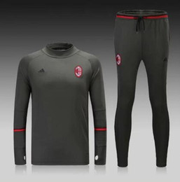 Wholesale Football Jersey Printing - 2017 18 Soccer jerseys Men's Jackets+Pants Sport Clothes AC MILAN Jogging Football Training Suit Fashion Outerwear Tracksuit