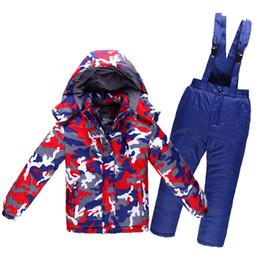 Wholesale Snow Child Suit - Wholesale- Camoufl Big Children Snow Jacket Ski suit sets outdoor SmallGilr Boy skiing snowboard Costume thermal -30 Coat jacket + bib pant
